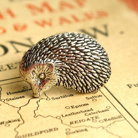 Hedgehog Ring Antiqued Pewter Silver Plated Ring by makeit on Etsy, $19.00