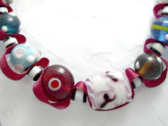 Lampwork beads and burgundy ribbon necklace.  by AlyxAndreaDesign, $22.00