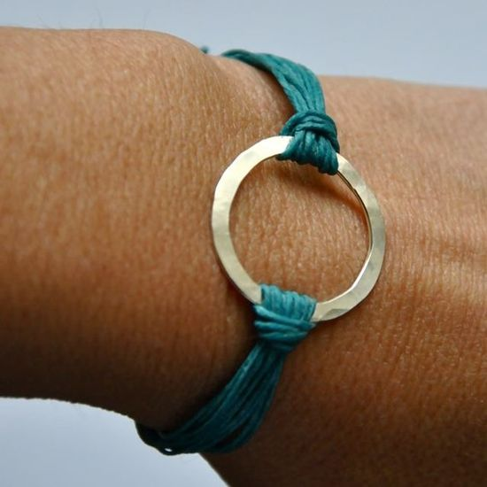 teal & metal bracelet - could totally make this --- different take on the washer painted with alcohol paints