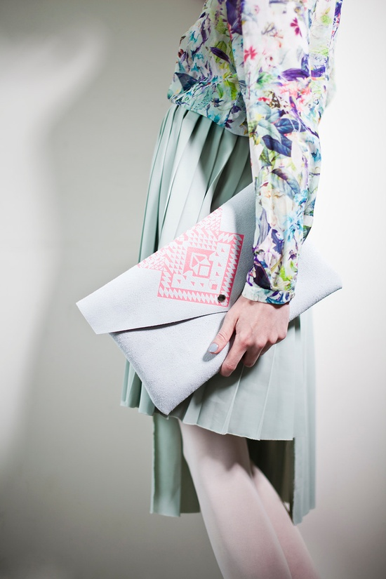 Envelope Bag Geometrical Illusion  Leather Suede Neon Pink No. EB-305. $64.00, via Etsy.
