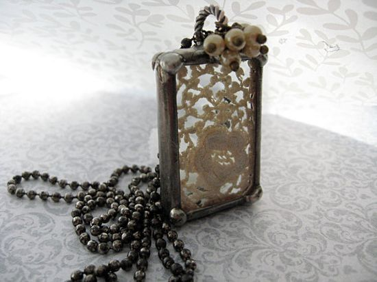 Soldered pendant with lace and bead accents