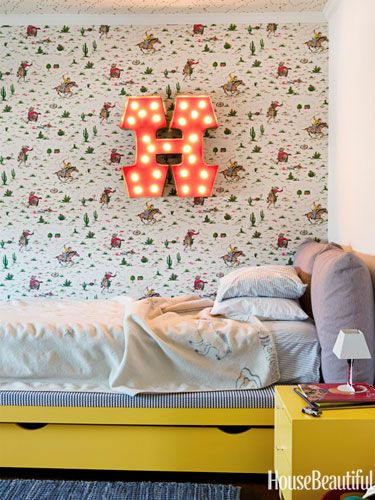Cowboy wallpaper by Cath Kidston. Design: Todd Nickey and Amy Kehoe. housebeautiful.com. #cowboy #wallpaper #boys_room #kids_room