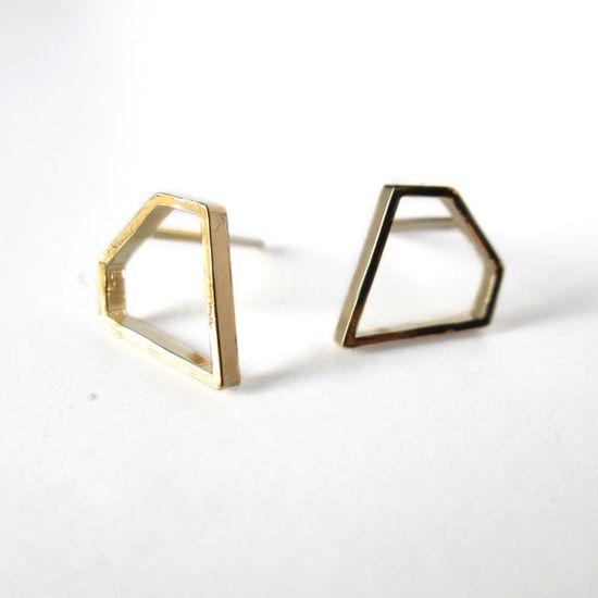 NEW - Tiny diamond 24 kt gold filled earrings. €24.00, via Etsy.