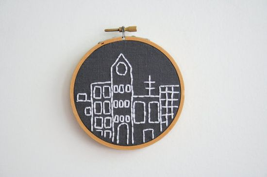 Hand Embroidery Hoop  City Skyline by Moxiedoll on Etsy, $35.00