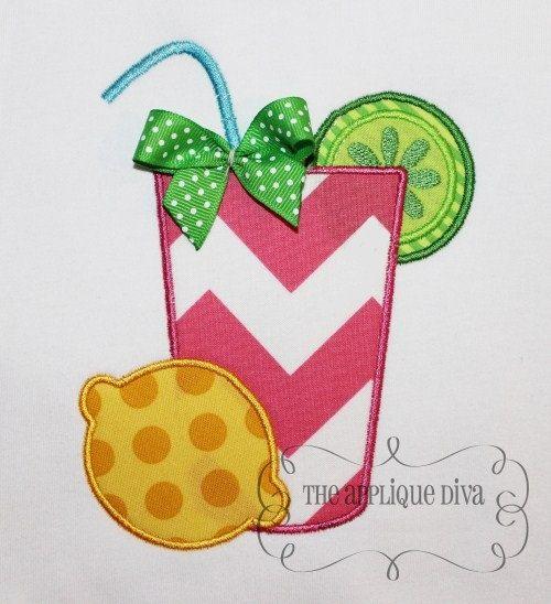 Summer Lemonade Embroidery Design Machine Applique.
