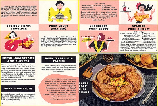 A handful of yummy pork recipes from 1956. #vintage #food #1950s #recipes