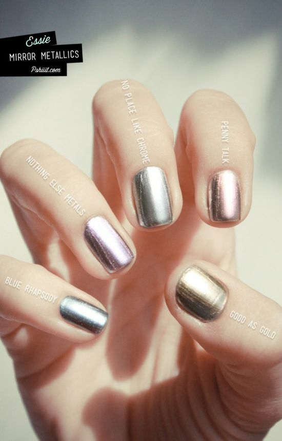 Try out metallic nail trend! #nails #metallic #essie #nail #polish