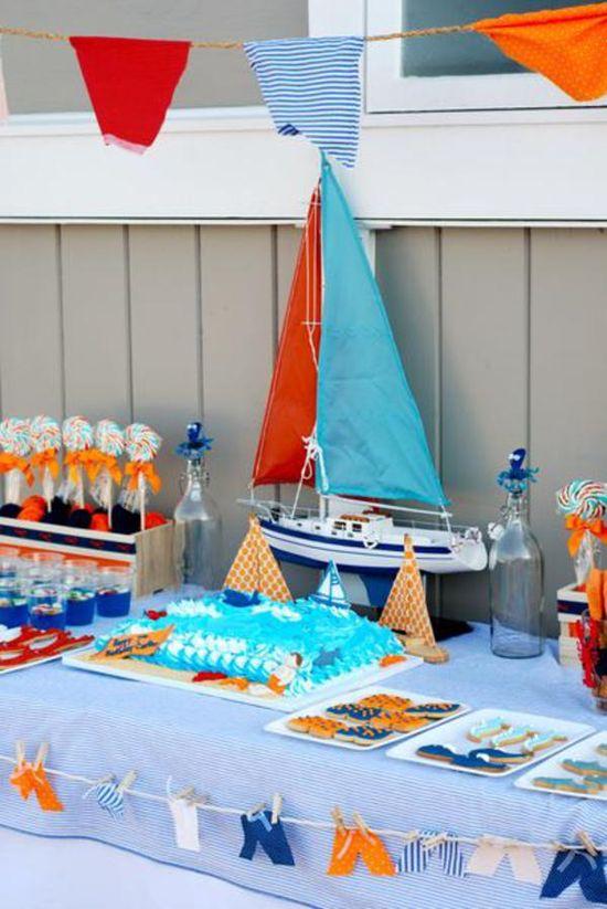 Preppy Beach themed birthday pool party