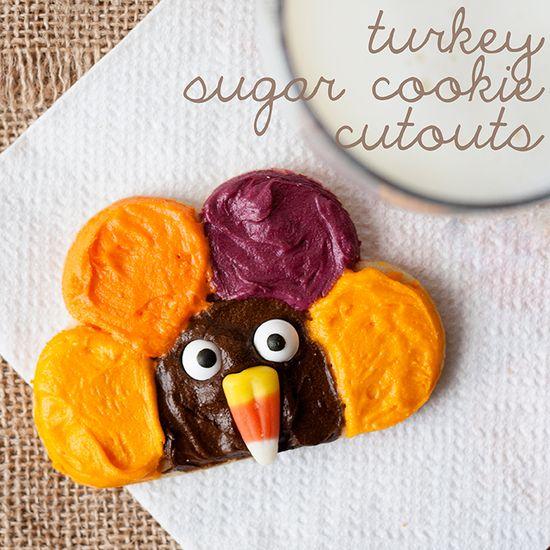Turkey Sugar Cookie Cutouts using a flower cookie cutter- so simple!