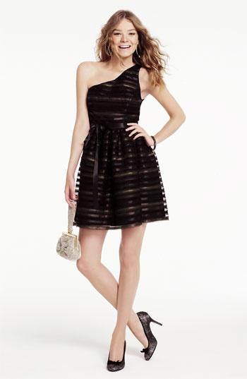 Jill Stuart One Shoulder Metallic Fit & Flare Dress