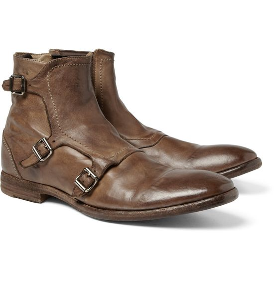 Alexander McQueen Leather Monk-Strap Boots
