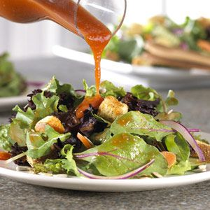 Harvest Salad - What makes this salad unique and delicious is the dressing...its made by combining Italian salad dressing mix with oil, vinegar, honey and a secret ingredient...tomato soup.