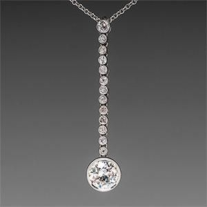Old Euro Cut Diamond Necklace in Platinum