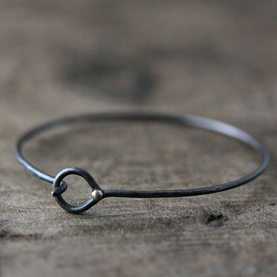oxidized sterling silver droplet wrapped bracelet - sometimes simple is best