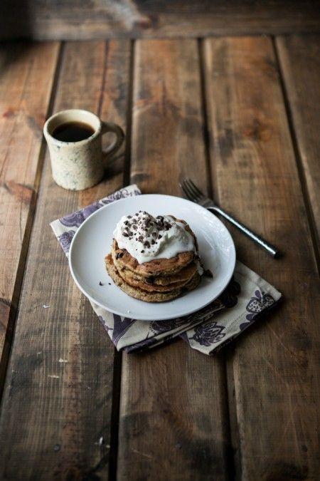 Chocolate Chip, Banana, and Oat Pancakes