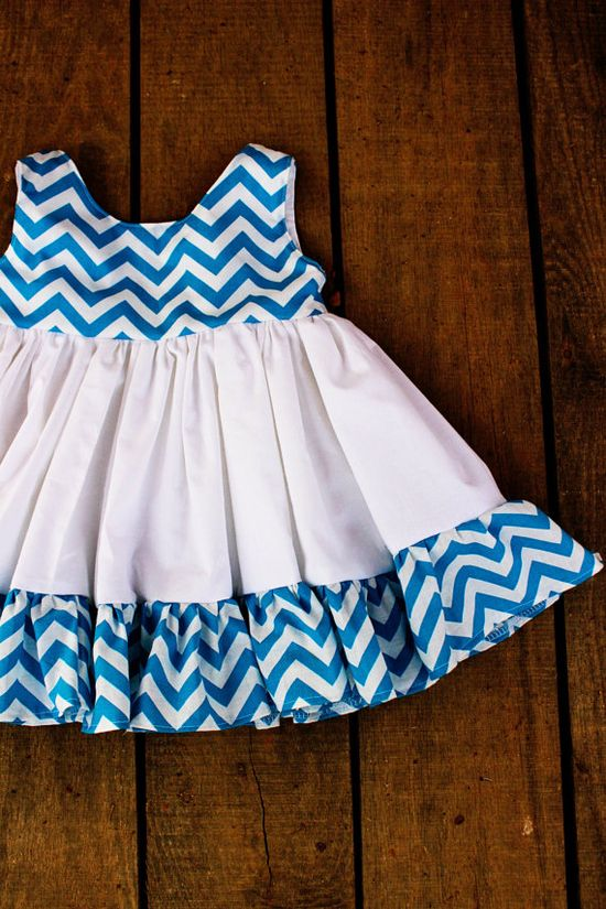 Girls Chevron Ruffle Dress  blue chevron flower by plainjanesstore, $26.00