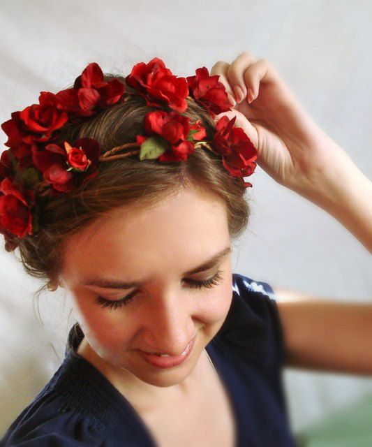 red flower head wreath  OUT WANDERING  a wedding by thehoneycomb, $90.00