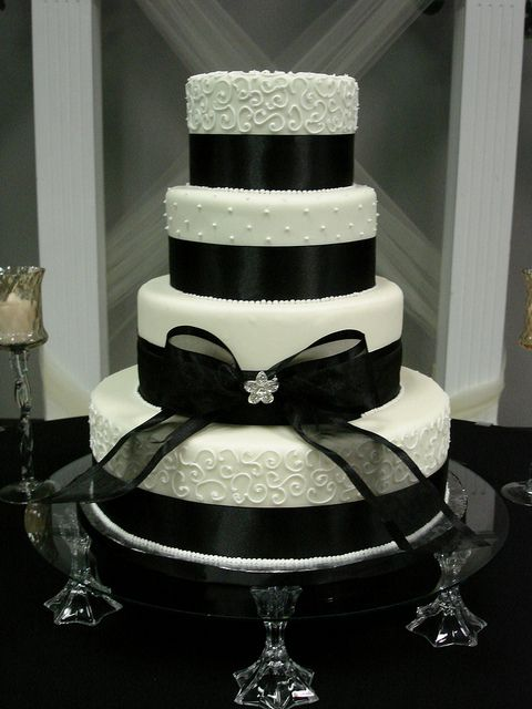 Elegant black and ivory wedding cake