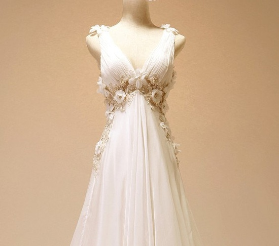 Vintage Chiffon Beach Wedding Dress Bridal Gown Deep by wonderxue, $309.00