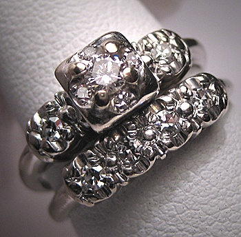 Antique Diamond Wedding Ring Set Engagement Band Deco  $1850.00