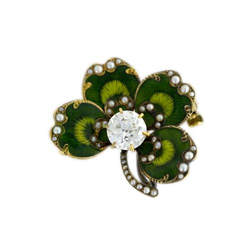 Enameled Victorian four-leaf clover watch pin