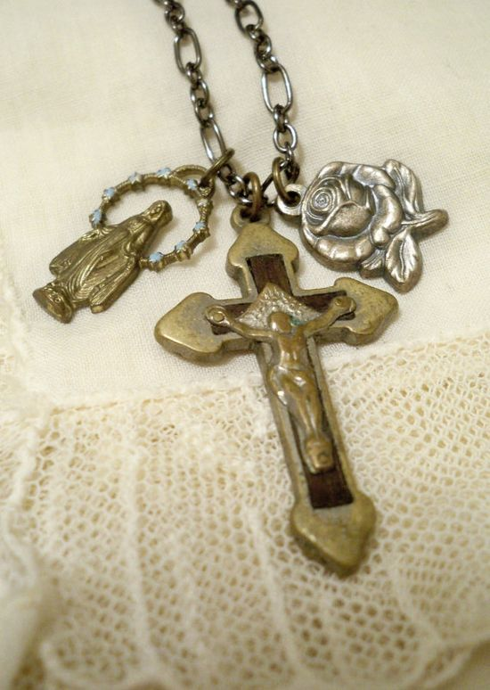 Reclaimed rosary medals necklace Pendant crucifix by ByCat on Etsy, $39.00