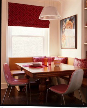 Pink in the kitchen: Banquette seating + modern pink chairs by xJavierx, via Flickr