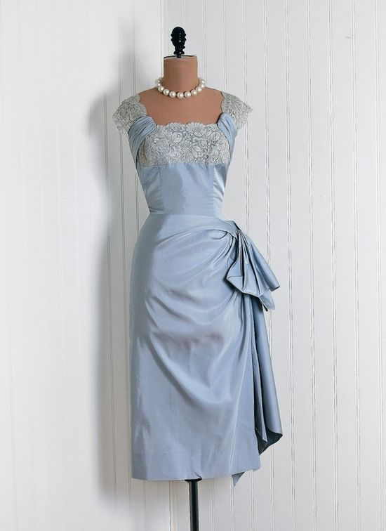 1950's Edward Abbot Sculpted Silk-Taffeta and French-Lace Cocktail Dress