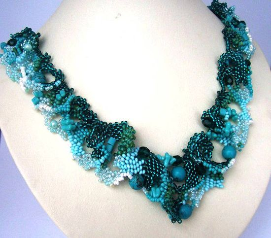 Beaded jewelry Freeform peyote beaded art necklace by ibics, $128.00