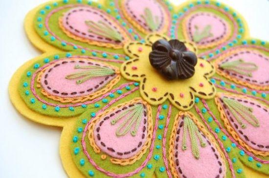 hand embroidery on felt. love it!