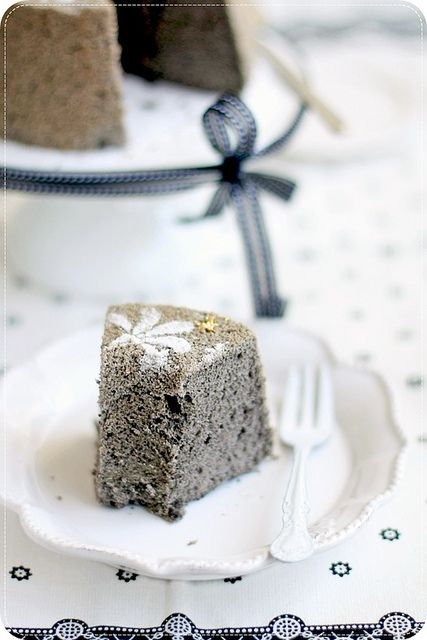 Completely delightful sounding Black Sesame Chiffon Cake (this would be fabulous for a Halloween party). #black #sesame #seeds #cake #chiffon #food #cooking #baking #dessert