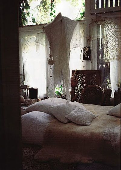 Bohemian white bedroom