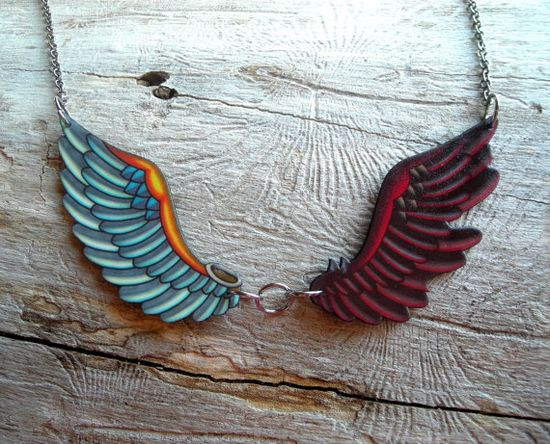#Etsy #handmade #tattoo #wing #necklace $24.95  another gorgeous necklace from Pretty in Ink