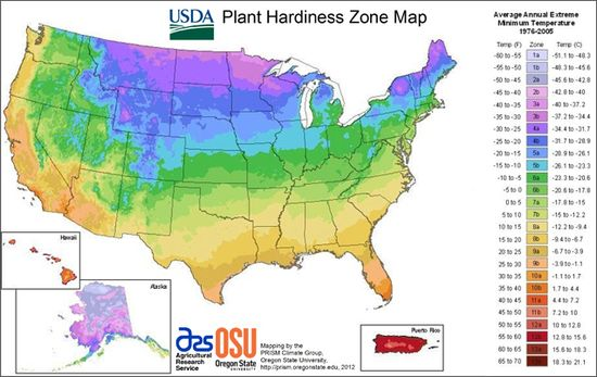 2012 USDA Plant Hardiness Zone Map (Gardening w/ Climate Change) - the standard by which gardeners and growers can determine which plants are most likely to thrive at a location.