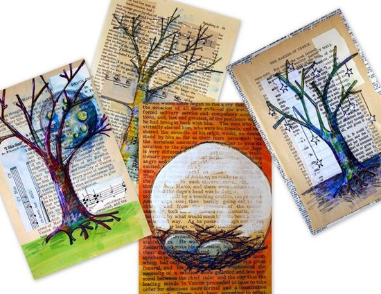 winter trees and nest prints- 4 trees set of prints --- 4x6 --- nest, tree, spring, moon and stars ---