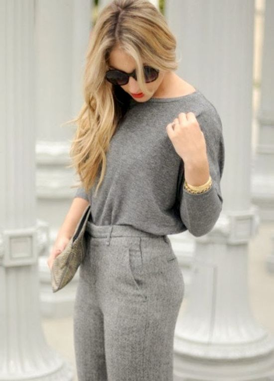 All Grey Work Outfit With Shades
