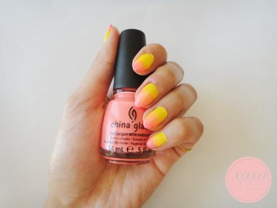 Tropical ombre nails #nail #art