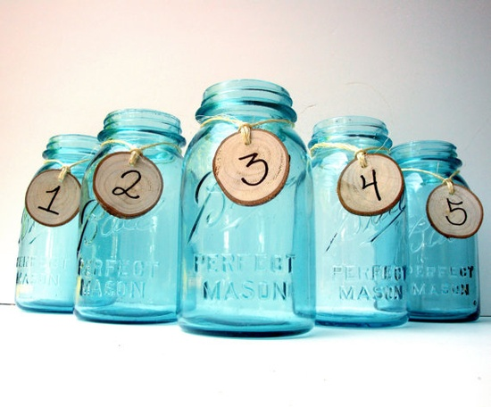 Set of 5 Antique Blue Mason Jar Party Table Numbers - Candle Holder, Flower Vase, Wedding, Centerpiece, Garden Party, Shabby Chic, White Oak