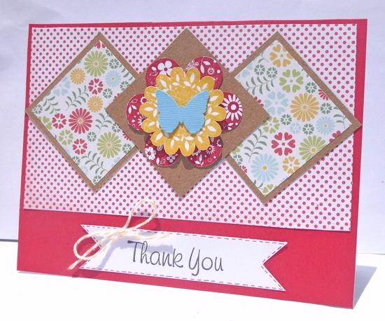 Thank You Floral Handmade Greeting Card, Handmade Paper Card. $3.50, via Etsy.