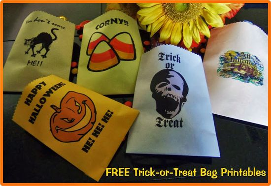 Easy do it yourself gift bags with instructions and free printables for Halloween gift bags.