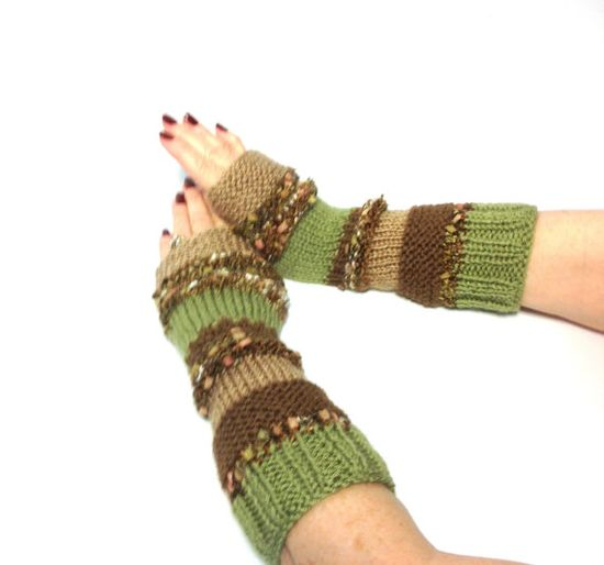 Hand Knit Fingerless Gloves Arm Warmers Beige by ArlenesBoutique, $45.00