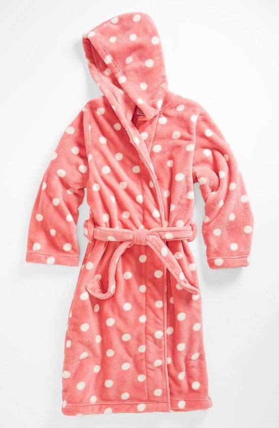 Cute, polka dot bathrobe!