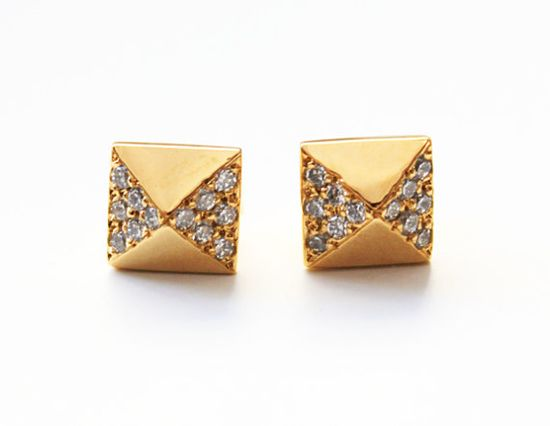 Pyramid Study Earrings with pave crystals by Tiny Armour