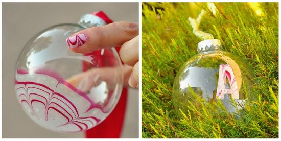 Make Candy Cane Marbled Christmas Ornaments. Video tutorial.