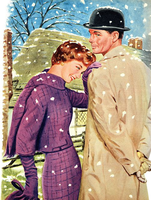 Illustration by Tom Lovell for the story A Cottage For Two, December 1959. #vintage #1950s #couple #winter