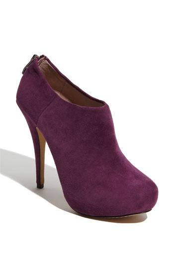 Purple suede booties