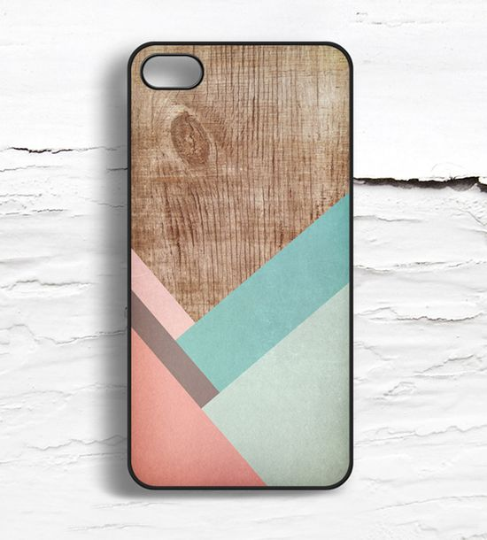 iPhone Coral Striped Wood Pattern Case