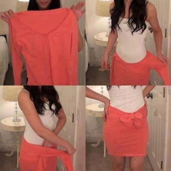 DIY Shirt to skirt