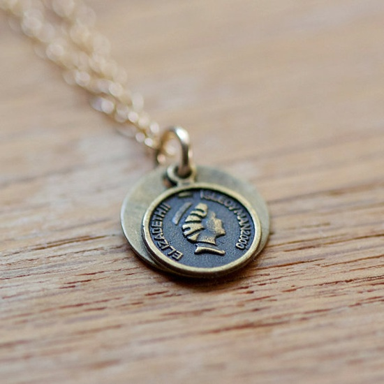 fortune  gold pendant necklace by elephantine by elephantine, $34.00
