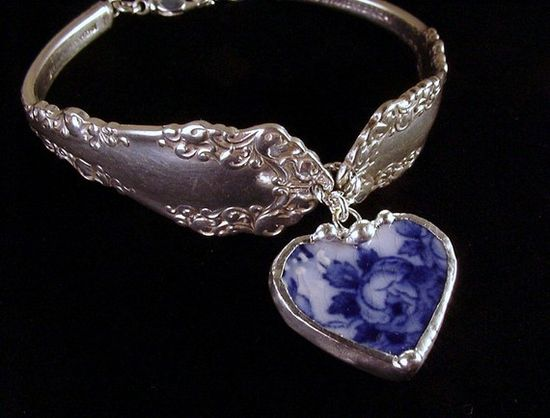 Silver spoon bracelet with flow blue china heart charm by Laura Beth Love Dishfunctional Designs